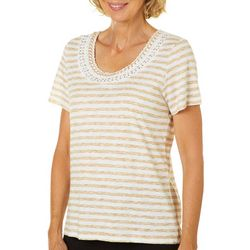 Onque Womens Embellished Neck Scratched Stripe Top