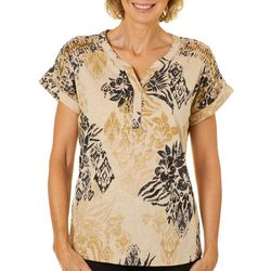 Onque Womens Embellished Tropical Ladder Sleeve Top
