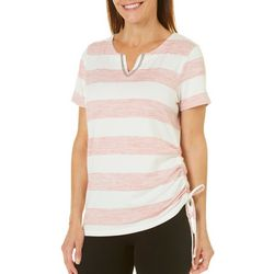 Onque Womens Embellished Striped Side Ruched Top