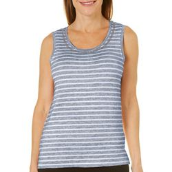 Onque Womens Embellished Striped Sleeveless Top