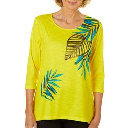 Onque Womens Embellished Tropical Leaf Top