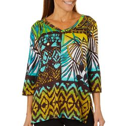 Onque Womens Embellished Tropical Geometric Top