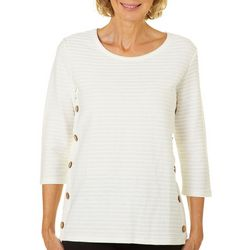 Onque Womens Into The Wild Striped Button Side Top