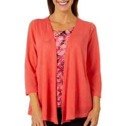 Shenanigans Womens Ikat Print Solid Jacket Duet Top