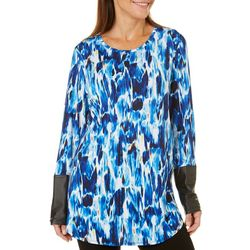 NyGard Womens Paint Spotted Layered Tunic Top