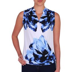 NyGard Womens Floral Faux-Wrap Sleeveless Top