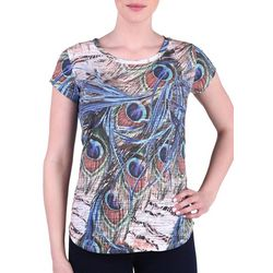 NyGard Womens Peacock Print Burnout Top