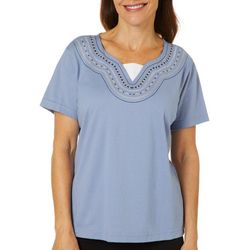 Palm Harbor Womens Embroidered Faux Duet Short Sleeve Top