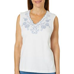 Once Again Womens Scallop Neck Floral Embroidered Top