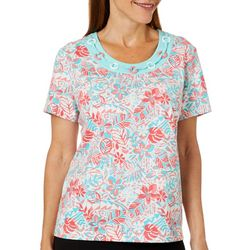 Once Again Womens Hot Hibiscus Tropical Floral Link Neck Top