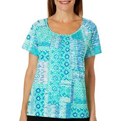 Once Again Womens Printed Raglan Top With Gathering