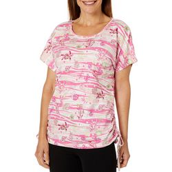 Once Again Womens Under The Sea Creatures Ruched Sides Top