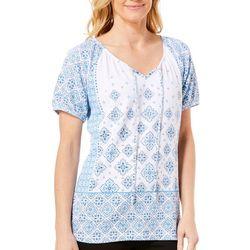 Fresh Womens Blue Tile Gauze Top