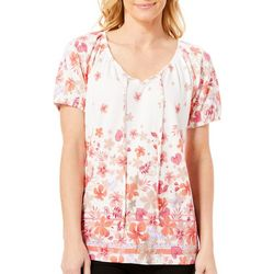 Fresh Womens Pink & Orange Floral Gauze Top