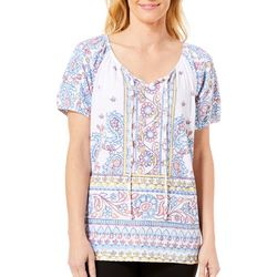 Fresh Womens Paisley Border Knit Gauze Top