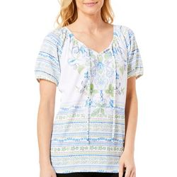 Fresh Womens Floral Vine Knit Gauze Top