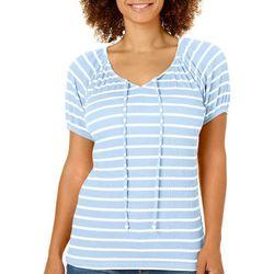 Fresh Womens Striped Gauze Tie Neck Top
