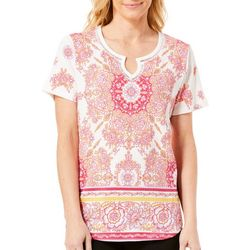 Fresh Womens Pink Floral Border Knit Gauze Top
