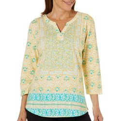 Fresh Womens Floral Medallion Notch Neck Top