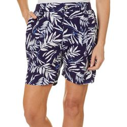 Fresh Womens Tropical Palm Leaf Print Knit Waist Shorts