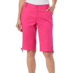 Jason Maxwell Womens Solid Ruched Hem Skimmer Shorts