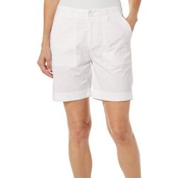 Jason Maxwell Womens Solid Roll Cuff Hem Shorts