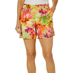 Fresh Womens Tropical Floral Palm Shorts
