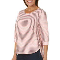 Silverwear Womens Striped Ruched Sleeve Top