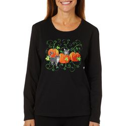 Erika Womens Embroidered Playful Pumpkins Top