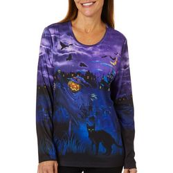 Erika Womens Embellished Spooky Scarecrow Top