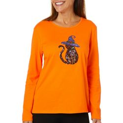 Erika Womens Sequin Witch Cat Round Neck Top