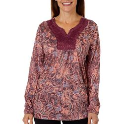 Erika Womens Teresa Embroidered Paisley Long Sleeve Top