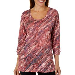 Erika Womens Burnout Diagonal Geo Stripe Lattice Sleeve Top