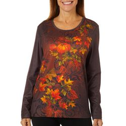 Erika Womens Jeweled Autumn Leaves Round Neck Top