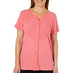 Erika Womens Adalyn Crochet Embroidered Button Down Top