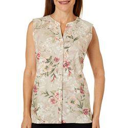 Erika Womens Garden Print Button Down Sleeveless Top