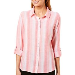 Erika Womens Crinkle Stripes Rhinestones Button Front Top