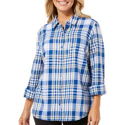 Erika Womens Plaid Button Down Roll Tab Top