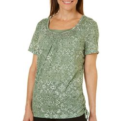 Erika Womens Abstract Printed Embellished Top