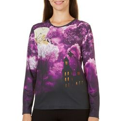 Erika Womens Embellished Flying Witch Top