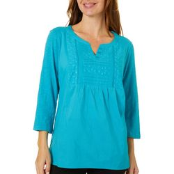 Erika Womens Nadine Solid Eyelet Embroidered Top