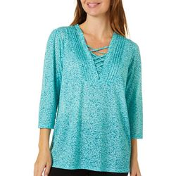 Erika Womens Mila Lace Up Top