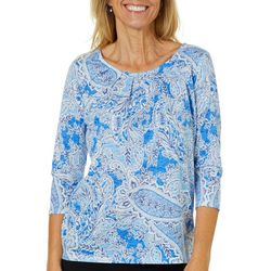 Erika Womens Embellished Floral Paisley Burnout Top