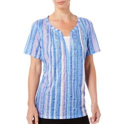 Erika Womens Embellished Striped Short Sleeve Top