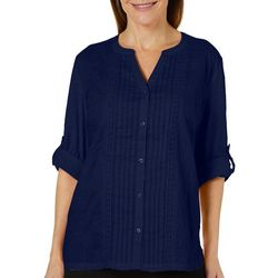 Erika Womens Embroidered Pleated Button Down Top