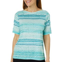 Erika Womens Aubree Stripe Print Crisscross Burnout Top