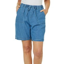 Erika Womens Pull On Denim Shorts