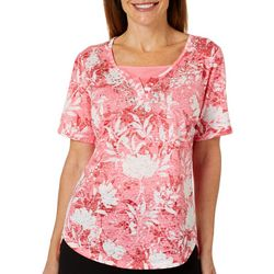 Erika Womens Willow Burnout Embellished Floral Print Top