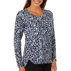 Erika Womens Animal Print Long Sleeve Top