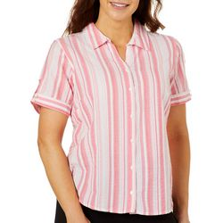 Erika Womens Textured Stripe Short Sleeve Button Down Top
